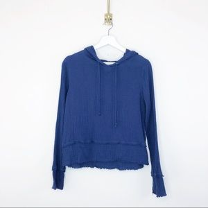 Anthropologie Cloth and Stone Cotton Frayed Hoodie